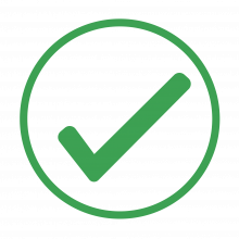 green icon of a checkmark
